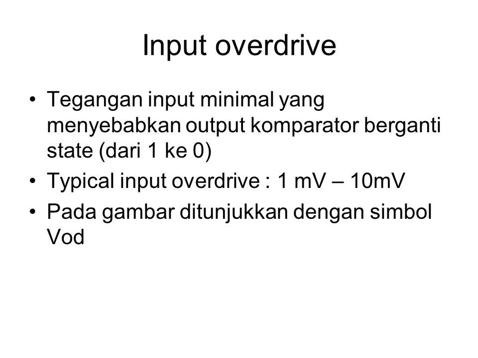 Input overdrive Tegangan input minimal yang menyebabkan output komparator berganti state (dari 1 ke 0) Typical input overdrive : 1 mV – 10mV Pada gamb