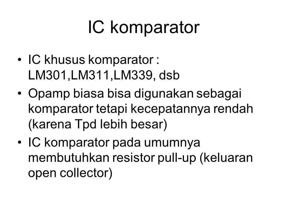 Aplikasi Komparator 1.Level Detector -Mendeteksi apakah suatu tegangan input sudah mencapai level tertentu -Level tersebut ditentukan oleh Vref indikator V- Membandingkan antara V- dengan Vref