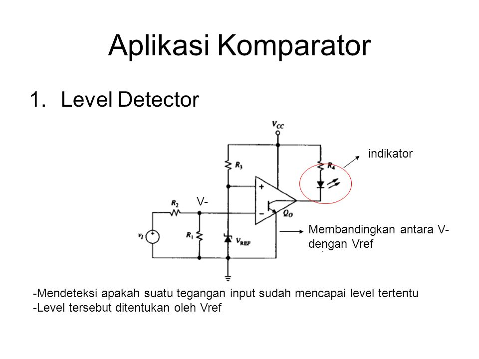 Aplikasi Komparator 1.Level Detector -Mendeteksi apakah suatu tegangan input sudah mencapai level tertentu -Level tersebut ditentukan oleh Vref indika