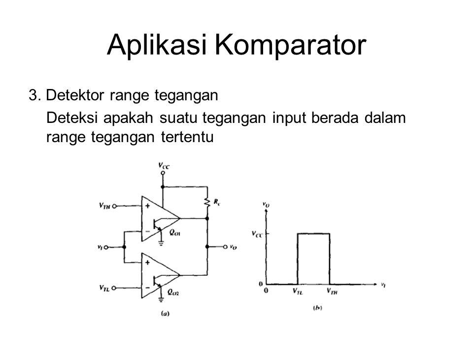 Aplikasi Komparator 3. Detektor range tegangan Deteksi apakah suatu tegangan input berada dalam range tegangan tertentu