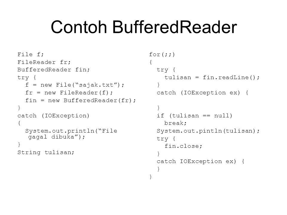 Membaca Input dari Keyboard Java menyediakan System.in sebagai InputStream untuk mendapatkan input dari keyboard.
