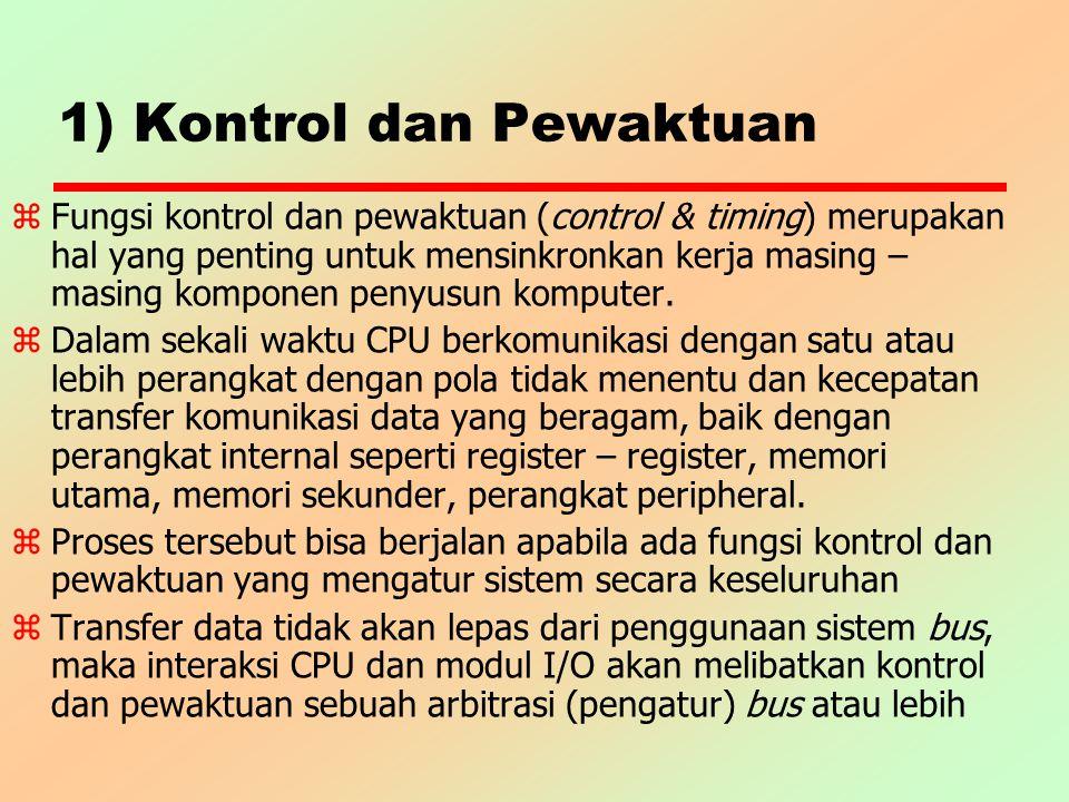 1) Kontrol dan Pewaktuan z Fungsi kontrol dan pewaktuan (control & timing) merupakan hal yang penting untuk mensinkronkan kerja masing – masing kompon