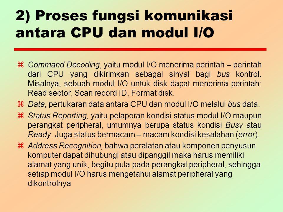 2) Proses fungsi komunikasi antara CPU dan modul I/O z Command Decoding, yaitu modul I/O menerima perintah – perintah dari CPU yang dikirimkan sebagai