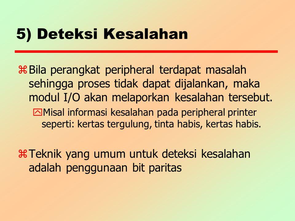 5) Deteksi Kesalahan z Bila perangkat peripheral terdapat masalah sehingga proses tidak dapat dijalankan, maka modul I/O akan melaporkan kesalahan ter