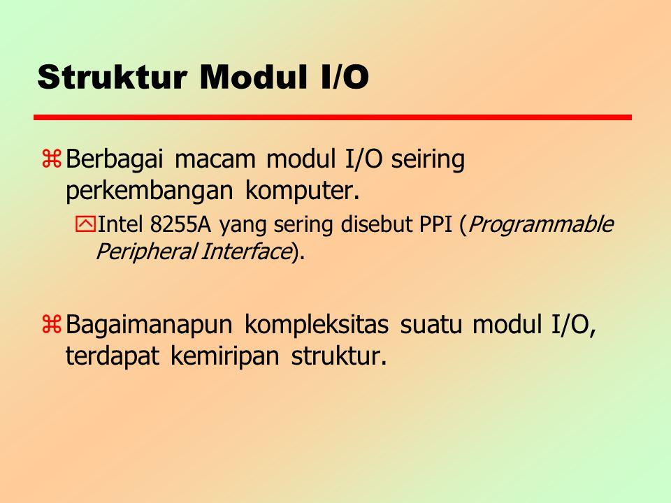 Struktur Modul I/O z Berbagai macam modul I/O seiring perkembangan komputer. y Intel 8255A yang sering disebut PPI (Programmable Peripheral Interface)