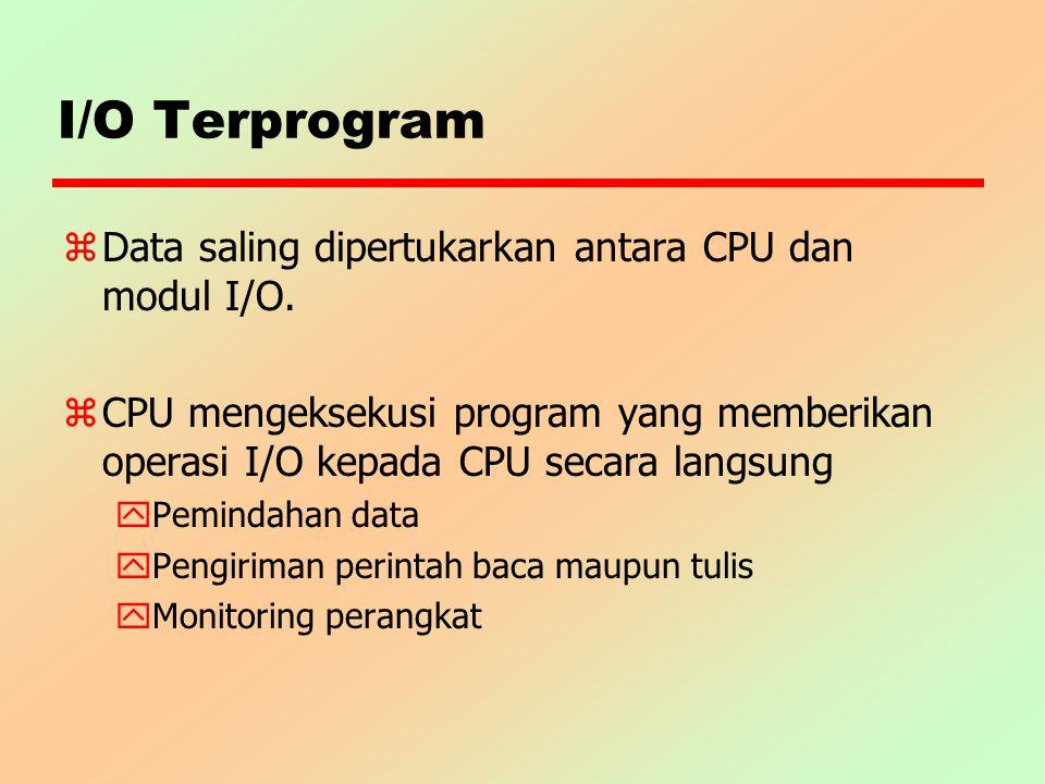 I/O Terprogram z Data saling dipertukarkan antara CPU dan modul I/O. z CPU mengeksekusi program yang memberikan operasi I/O kepada CPU secara langsung