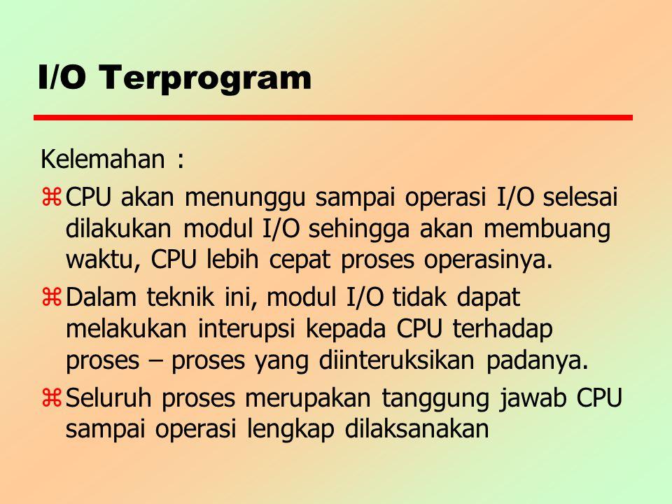 I/O Terprogram Kelemahan : z CPU akan menunggu sampai operasi I/O selesai dilakukan modul I/O sehingga akan membuang waktu, CPU lebih cepat proses ope