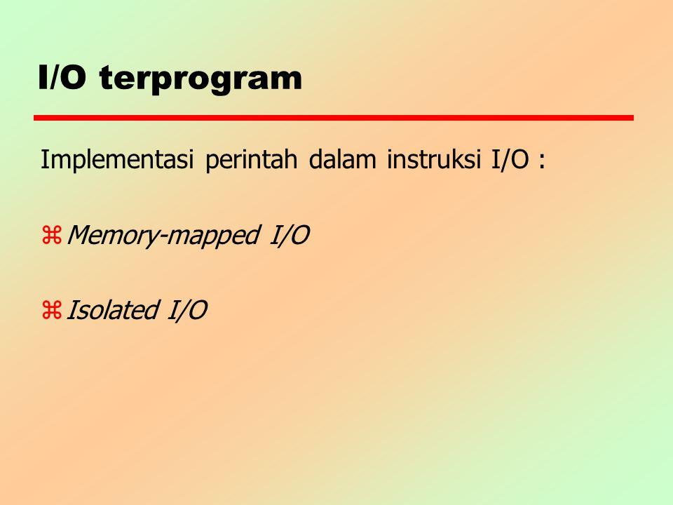 I/O terprogram Implementasi perintah dalam instruksi I/O : z Memory-mapped I/O zIsolated I/O