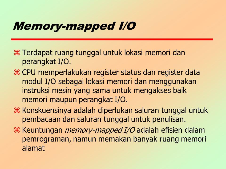 Memory-mapped I/O z Terdapat ruang tunggal untuk lokasi memori dan perangkat I/O. z CPU memperlakukan register status dan register data modul I/O seba