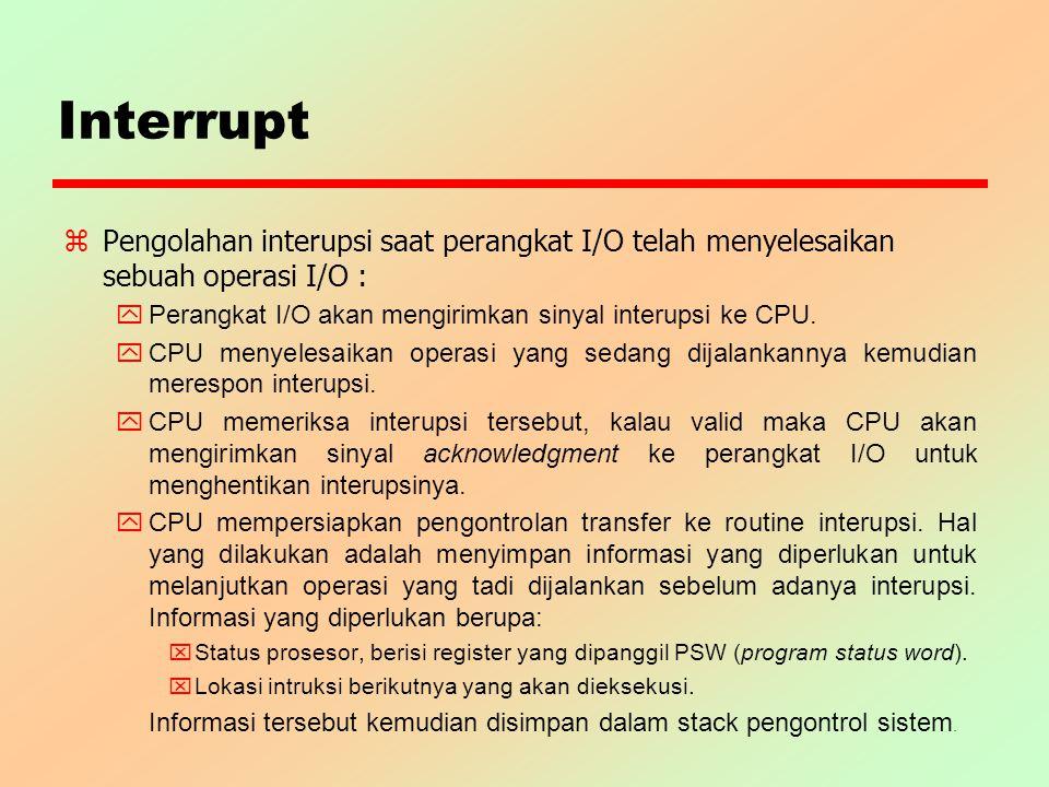 Interrupt z Pengolahan interupsi saat perangkat I/O telah menyelesaikan sebuah operasi I/O : y Perangkat I/O akan mengirimkan sinyal interupsi ke CPU.