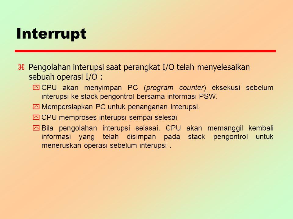 Interrupt z Pengolahan interupsi saat perangkat I/O telah menyelesaikan sebuah operasi I/O : y CPU akan menyimpan PC (program counter) eksekusi sebelu