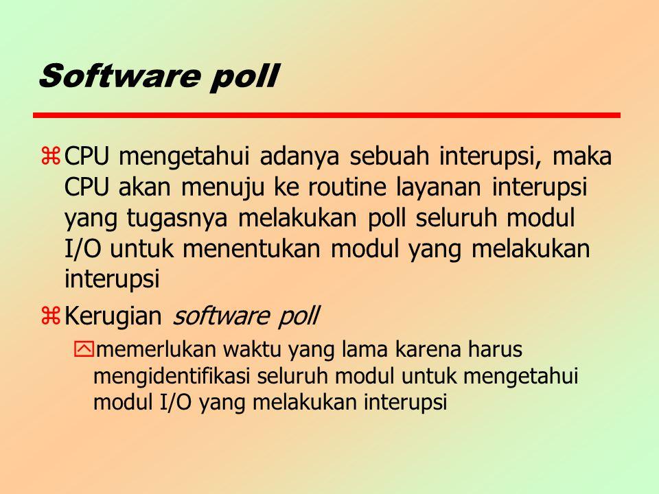 Software poll zCPU mengetahui adanya sebuah interupsi, maka CPU akan menuju ke routine layanan interupsi yang tugasnya melakukan poll seluruh modul I/