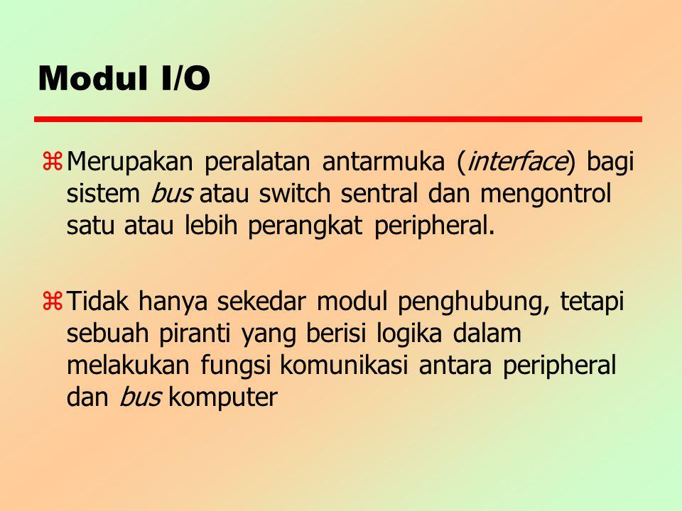 Modul I/O z Merupakan peralatan antarmuka (interface) bagi sistem bus atau switch sentral dan mengontrol satu atau lebih perangkat peripheral. zTidak