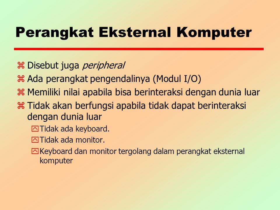 Perangkat Eksternal Komputer z Disebut juga peripheral z Ada perangkat pengendalinya (Modul I/O) zMemiliki nilai apabila bisa berinteraksi dengan duni