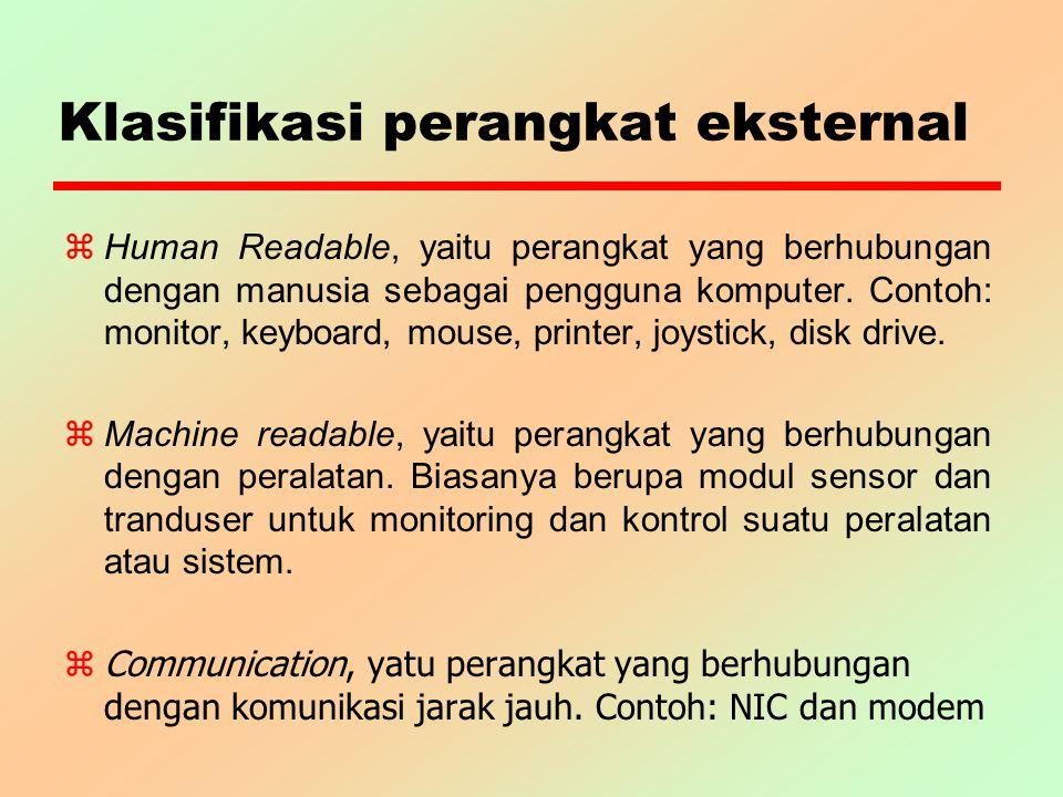 Klasifikasi perangkat eksternal z Human Readable, yaitu perangkat yang berhubungan dengan manusia sebagai pengguna komputer. Contoh: monitor, keyboard