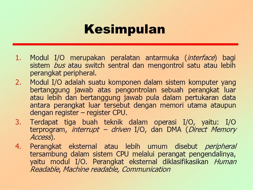 Kesimpulan 1.Modul I/O merupakan peralatan antarmuka (interface) bagi sistem bus atau switch sentral dan mengontrol satu atau lebih perangkat peripher