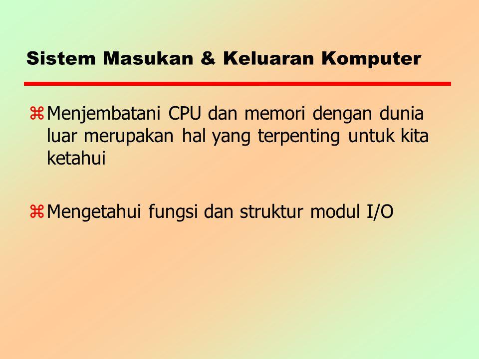 Direct Memory Access (DMA) zMelaksanakan transfer data secara mandiri yDMA memerlukan pengambilalihan kontrol bus dari CPU yDMA akan menggunakan bus bila CPU tidak menggunakannya atau DMA memaksa CPU untuk menghentikan sementara penggunaan bus yTeknik cycle-stealing, modul DMA mengambil alih siklus bus zPenghentian sementara penggunaan bus bukanlah bentuk interupsi, tetapi penghentian proses sesaat yang berimplikasi hanya pada kelambatan eksekusi CPU saja