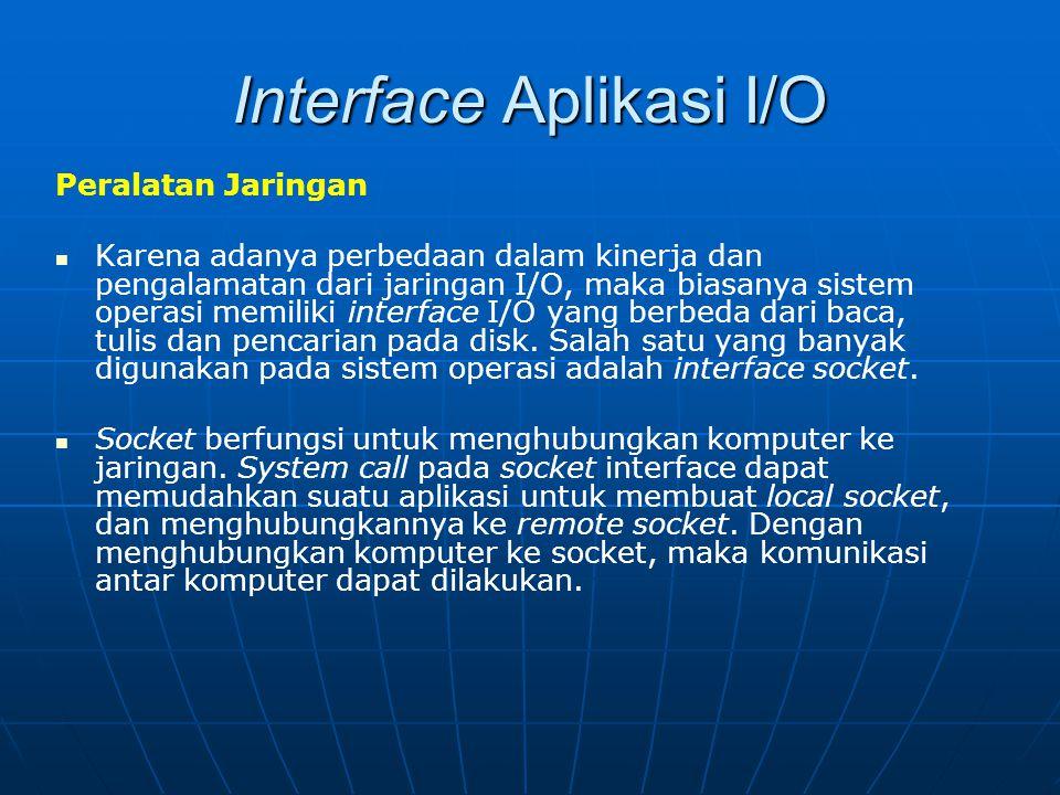 Interface Aplikasi I/O Peralatan Jaringan Karena adanya perbedaan dalam kinerja dan pengalamatan dari jaringan I/O, maka biasanya sistem operasi memil