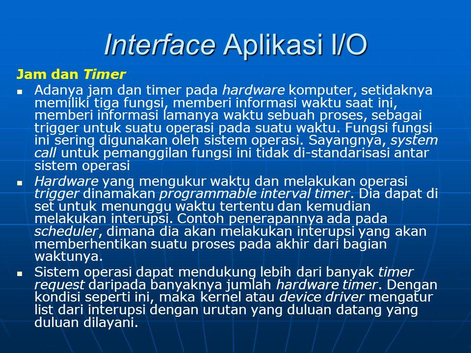 Interface Aplikasi I/O Jam dan Timer Adanya jam dan timer pada hardware komputer, setidaknya memiliki tiga fungsi, memberi informasi waktu saat ini, m