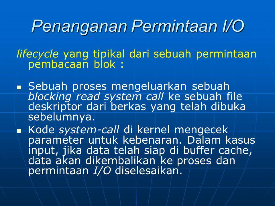 Penanganan Permintaan I/O lifecycle yang tipikal dari sebuah permintaan pembacaan blok : Sebuah proses mengeluarkan sebuah blocking read system call k