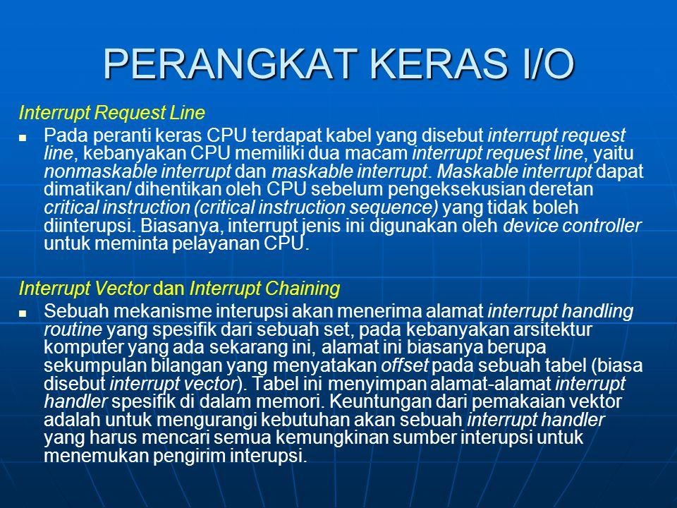 PERANGKAT KERAS I/O Interrupt Request Line Pada peranti keras CPU terdapat kabel yang disebut interrupt request line, kebanyakan CPU memiliki dua maca