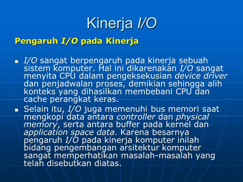 Kinerja I/O Pengaruh I/O pada Kinerja I/O sangat berpengaruh pada kinerja sebuah sistem komputer. Hal ini dikarenakan I/O sangat menyita CPU dalam pen