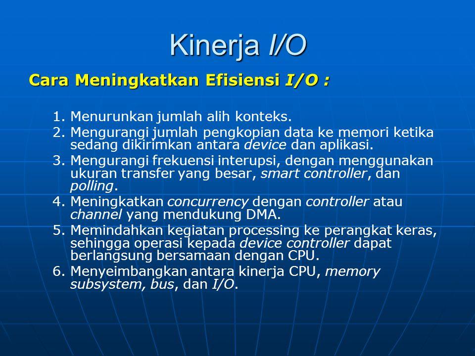 Kinerja I/O Cara Meningkatkan Efisiensi I/O : 1. 1.Menurunkan jumlah alih konteks. 2. 2.Mengurangi jumlah pengkopian data ke memori ketika sedang diki