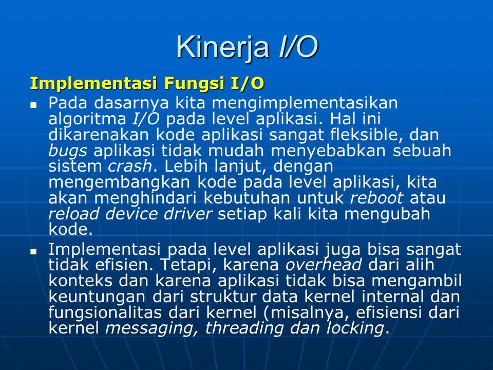 Kinerja I/O Implementasi Fungsi I/O Pada dasarnya kita mengimplementasikan algoritma I/O pada level aplikasi. Hal ini dikarenakan kode aplikasi sangat