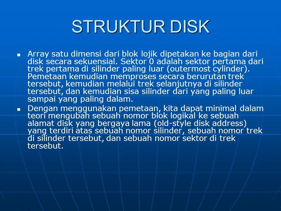 STRUKTUR DISK Array satu dimensi dari blok lojik dipetakan ke bagian dari disk secara sekuensial. Sektor 0 adalah sektor pertama dari trek pertama di
