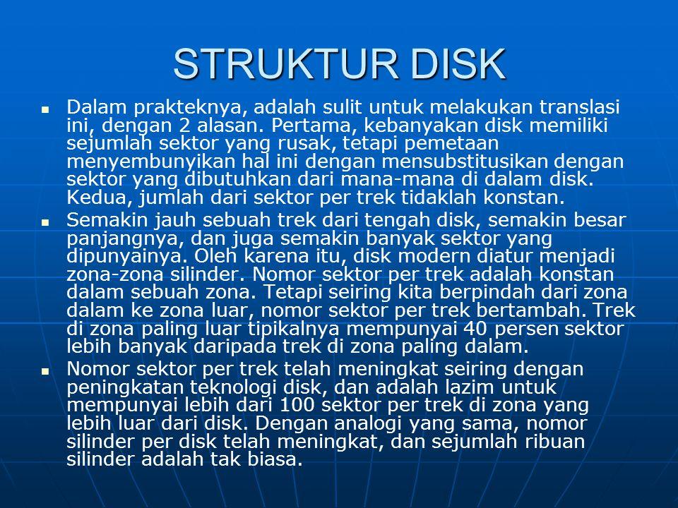 STRUKTUR DISK Dalam prakteknya, adalah sulit untuk melakukan translasi ini, dengan 2 alasan. Pertama, kebanyakan disk memiliki sejumlah sektor yang ru