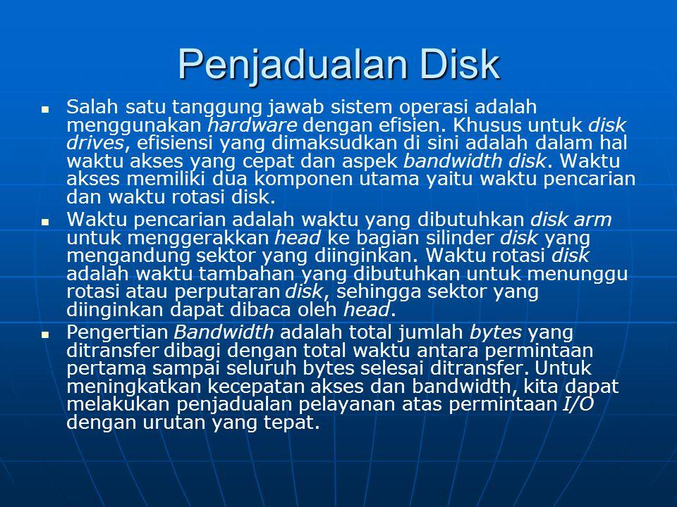 Penjadualan Disk Salah satu tanggung jawab sistem operasi adalah menggunakan hardware dengan efisien. Khusus untuk disk drives, efisiensi yang dimaksu