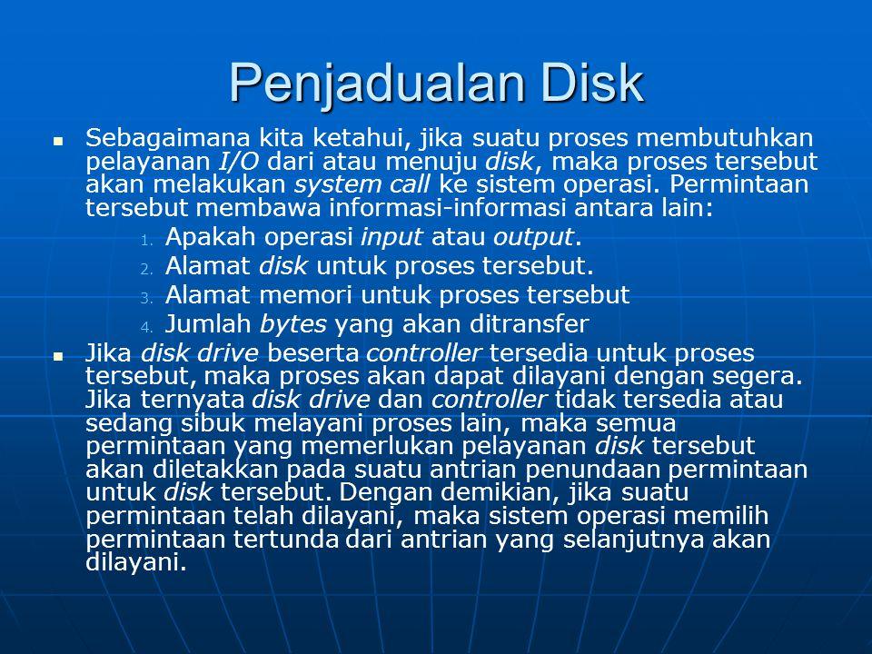 Penjadualan Disk Sebagaimana kita ketahui, jika suatu proses membutuhkan pelayanan I/O dari atau menuju disk, maka proses tersebut akan melakukan syst