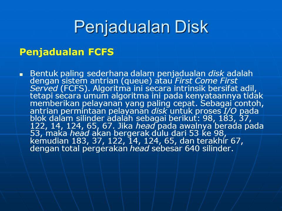 Penjadualan Disk Penjadualan FCFS Bentuk paling sederhana dalam penjadualan disk adalah dengan sistem antrian (queue) atau First Come First Served (FC
