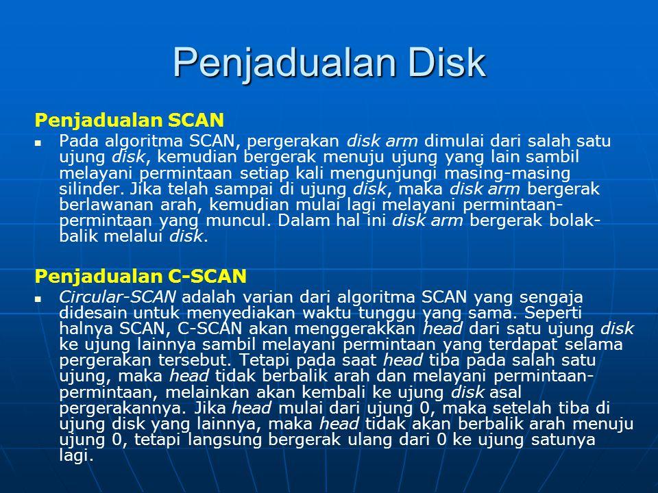 Penjadualan Disk Penjadualan SCAN Pada algoritma SCAN, pergerakan disk arm dimulai dari salah satu ujung disk, kemudian bergerak menuju ujung yang lai