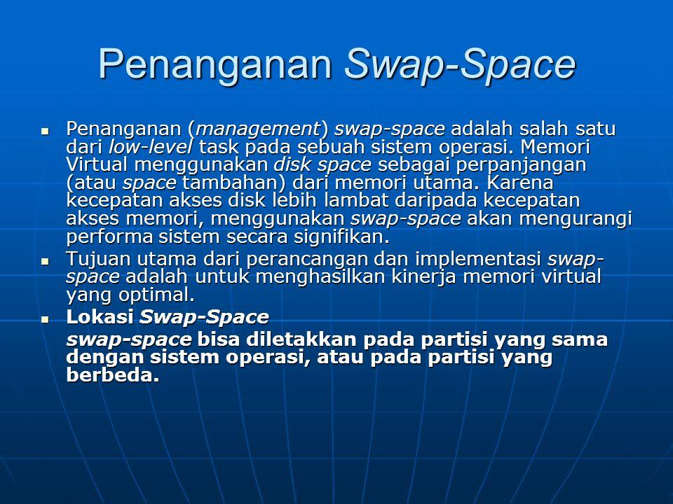Penanganan Swap-Space Penanganan (management) swap-space adalah salah satu dari low-level task pada sebuah sistem operasi. Memori Virtual menggunakan