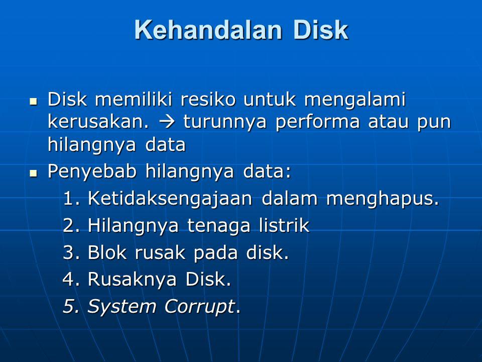 Kehandalan Disk Disk memiliki resiko untuk mengalami kerusakan.  turunnya performa atau pun hilangnya data Disk memiliki resiko untuk mengalami kerus