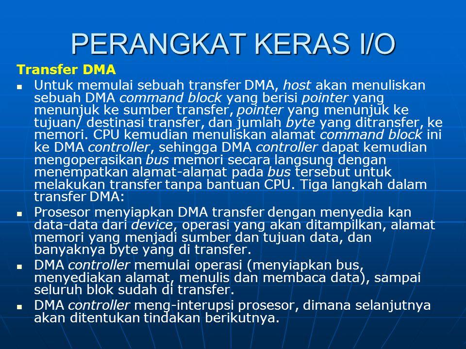 PERANGKAT KERAS I/O Transfer DMA Untuk memulai sebuah transfer DMA, host akan menuliskan sebuah DMA command block yang berisi pointer yang menunjuk ke