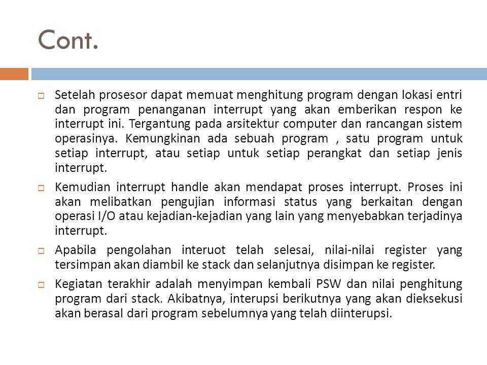 Cont.  Setelah prosesor dapat memuat menghitung program dengan lokasi entri dan program penanganan interrupt yang akan emberikan respon ke interrupt
