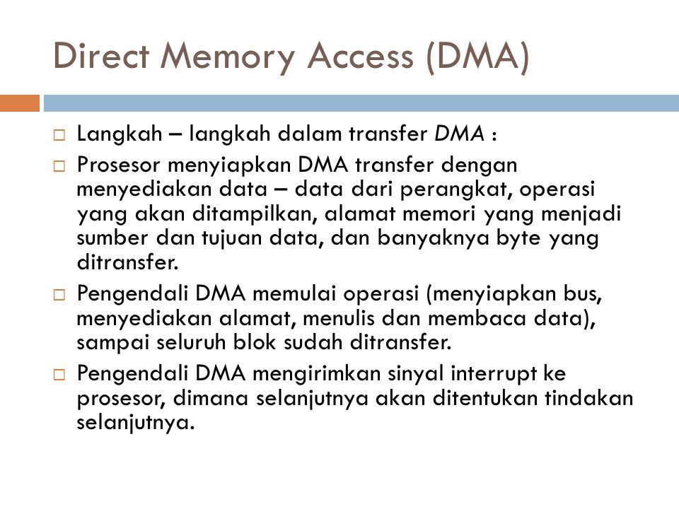 Direct Memory Access (DMA)  Langkah – langkah dalam transfer DMA :  Prosesor menyiapkan DMA transfer dengan menyediakan data – data dari perangkat,