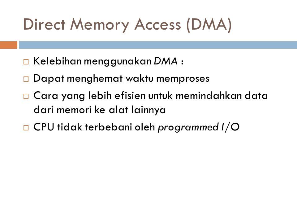 Direct Memory Access (DMA)  Kelebihan menggunakan DMA :  Dapat menghemat waktu memproses  Cara yang lebih efisien untuk memindahkan data dari memor