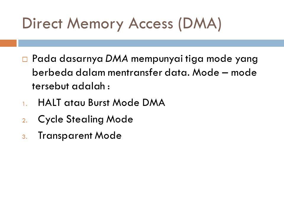 Direct Memory Access (DMA)  Pada dasarnya DMA mempunyai tiga mode yang berbeda dalam mentransfer data. Mode – mode tersebut adalah : 1. HALT atau Bur