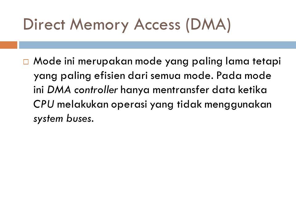 Direct Memory Access (DMA)  Mode ini merupakan mode yang paling lama tetapi yang paling efisien dari semua mode. Pada mode ini DMA controller hanya m