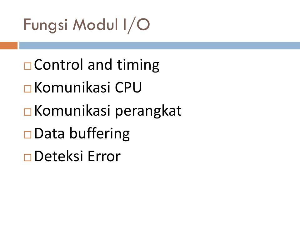 CONTROL DAN TIMING  Misalnya, kontrol pemindahan data dari sebuah perangkat eksternal ke CPU dapat meliputi langkah-langkah berikut ini :  CPU meminta modul I / O untuk memeriksa status perangkat yang terhubung.