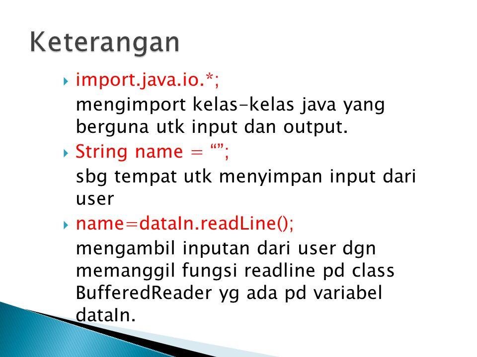 import java.util.Scanner; public class soal { public static void main(String[]args) { int X; Scanner input= new Scanner(System.in); System.out.print( Masukkan Nilai Pertama = ); X= input.nextInt(); System.out.println( Nilai yang Anda Masukkan + X); }