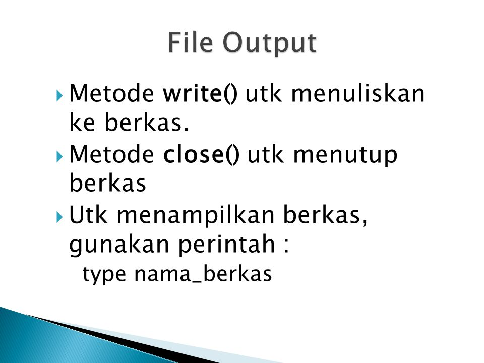 import java.io.*; public class berkas { public static void main(String[] args) { try{ FileOutputStream berkaskeluaran = new FileOutputStream( tes.txt ); //tulis ke berkas berkaskeluaran.write( A ); berkaskeluaran.write( B ); berkaskeluaran.close(); } catch(IOException i){ }