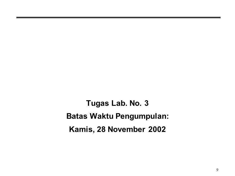 9 Tugas Lab. No. 3 Batas Waktu Pengumpulan: Kamis, 28 November 2002
