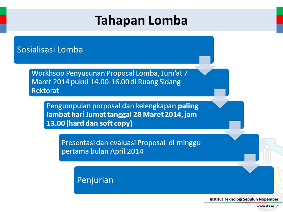 Tahapan Lomba Sosialisasi Lomba Workhsop Penyusunan Proposal Lomba, Jum'at 7 Maret 2014 pukul 14.00-16.00 di Ruang Sidang Rektorat Pengumpulan porposa