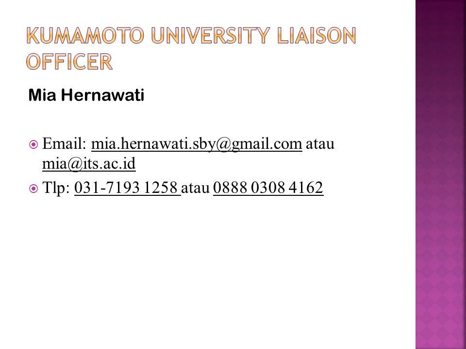 Mia Hernawati  Email: mia.hernawati.sby@gmail.com atau mia@its.ac.id  Tlp: 031-7193 1258 atau 0888 0308 4162