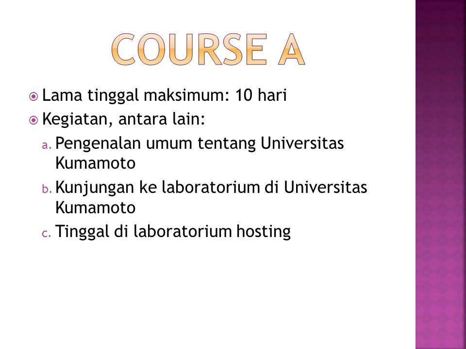  Lama tinggal maksimum: 10 hari  Kegiatan, antara lain: a. Pengenalan umum tentang Universitas Kumamoto b. Kunjungan ke laboratorium di Universitas