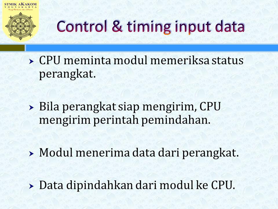  CPU meminta modul memeriksa status perangkat.  Bila perangkat siap mengirim, CPU mengirim perintah pemindahan.  Modul menerima data dari perangkat